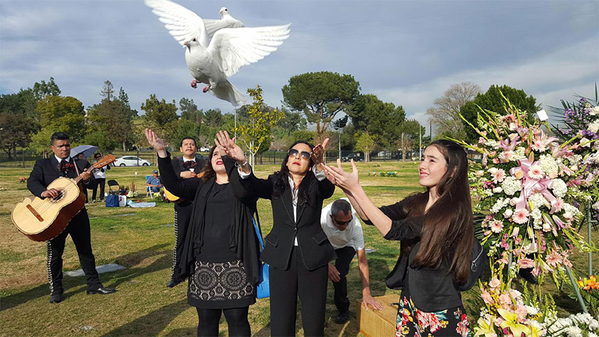 Releasing of Doves at a gravesite